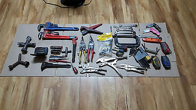 Ridgid plumbing tools, Pipe wrench, visegrips, clamps, dies, bolt extractor