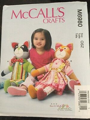 McCall's Sewing Pattern 6980 Learn To Raccoon Cat Stuffed Animals New