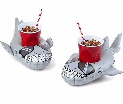 2-pk SHARK Beverage Boat Inflatable Cup Drink Can Holder Pool Float - Big Mouth