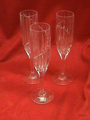 3 Mikasa Crystal Uptown Champagne Flutes