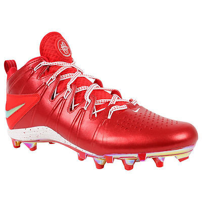 NEW! $120 Nike Huarache 4 LAX LE Lacrosse Cleats Red & Metallic Silver Size 7
