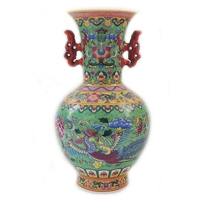 Gorgeous Antique Old Chinese Porcelain Glaze  Hand Painted Phoenix Vase Marked