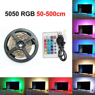 50-500Cm Usb Led Strip Lights Tv Back Light Rgb Colour Changing + Remote Control