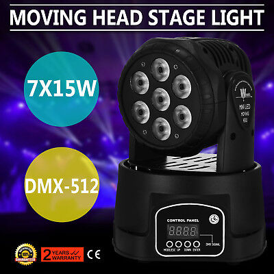 RGBW 7x15W LED Moving Head Stage Par Light 4in1 DJ Disco Auto Band Effect GREAT