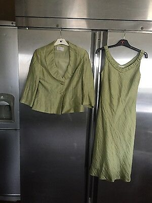 Gorgeous apple green silk look dress& jacket occasion outfit Precis petite sz 10