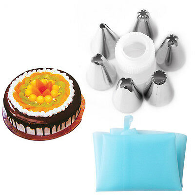 UK Silicone Icing Piping Cream Pastry Bag + 6x Nozzle Sets Cake DIY Baking Tool