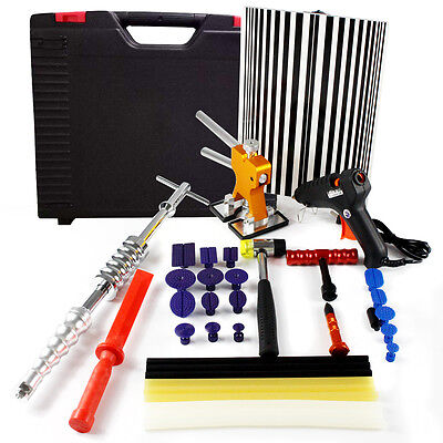 Paintless PDR Kit Repair Tool Removal Line Board Hail Dent Puller Lifter+Sticks
