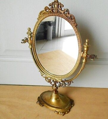 Vintage French solid Brass Vanity Mirror  / table Mirror