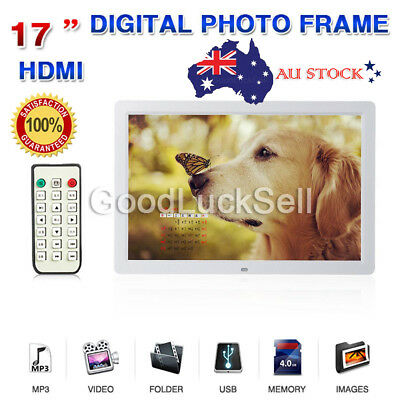 "17"" HD 1080P LED Digital Photo Picture Frame Movie Player Remote Control White A"