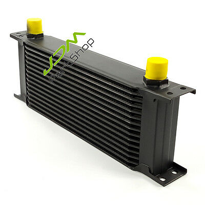 """Universal 15 Row AN-10 AN  13"""" x 5.3"""" x 2"""" Engine Transmission Oil Cooler Black"""