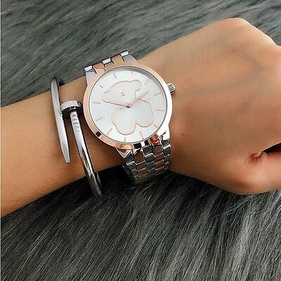 Fashion Luxury Women's Casual Bear Watch Quartz Stainless Steel Dress Wristwatch