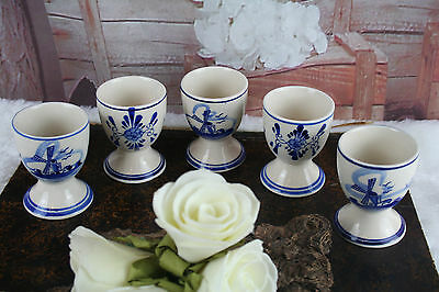 SET of 5 Delft pottery ceramic Egg holders dinner Mill floral marked cute !
