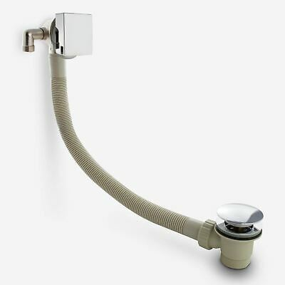 Modern Chrome Bath Filler With Sprung Waste & Overflow - Square