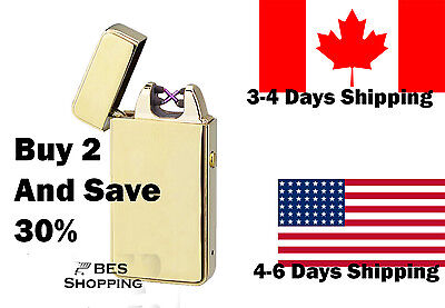 usb rechargeable lighter dual 2 arc electric plasma flameless windproof as zippo