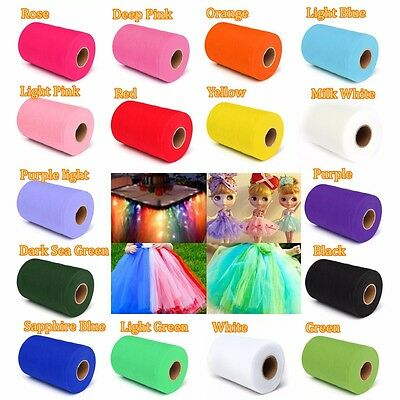 "6""x100 yards Tutu Tulle Roll Spool Gift Wrap Craft Bow Wedding Party Decoration"