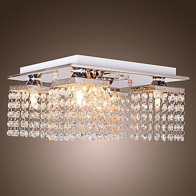 "12"" Square Crystal Pendant Lamp Ceiling Light Fixture Chandelier Lighting"
