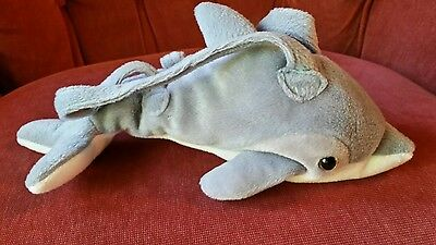 "Fiesta Dolphin Plush Toy Doll Purse 10"" Stuffed Animal Zipper Pouch"