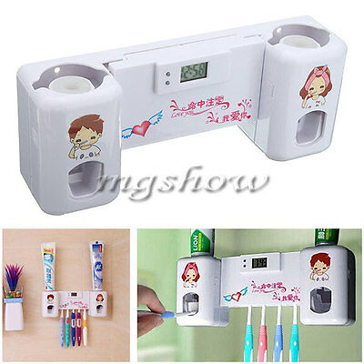 2 In1 Auto Toothpaste Dispenser +5 Toothbrush Holder Stand Wall Mount Rack+Clock