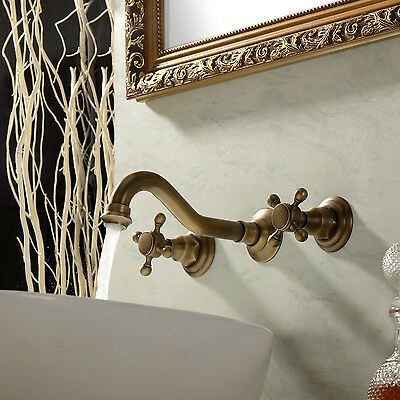 Traditional Bathroom Sink Faucet Classic Polish Brass Mixer Tap Two Handles