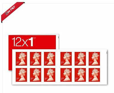 UNUSED 12 x FIRST 1st CLASS STAMPS Red Book of 12 UK Postage Royal Mail NEW