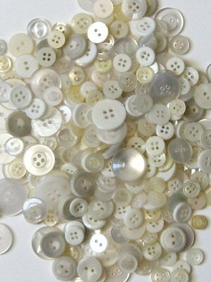 New Assorted Clear White Tinted Shirt Buttons Lot, Sewing, Crafts Scrapbooking