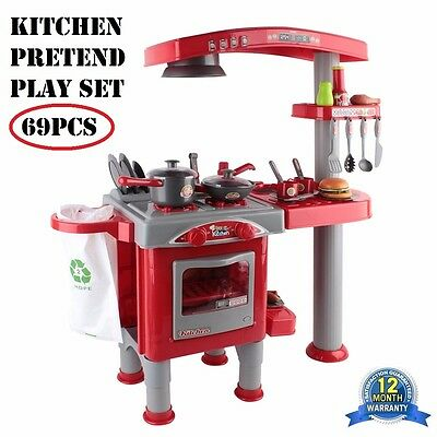 NEW 69pcs Kids Kitchen Cooking Pretend Role Play Set Children Toy Toddler Gift