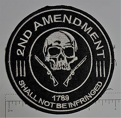 2nd Amendment Skull Outlaw Biker Funny Motorcycle Iron On Small Patch