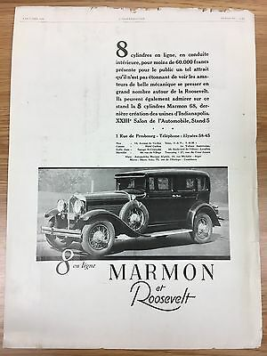RARE 1929 MARMON Roosevelt Vintage Large French B&W Car Advert