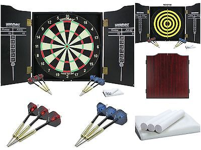 New Winmau Dartboard, Cabinet with Scoring Panel, Chalk Duster & 2 Sets of Darts