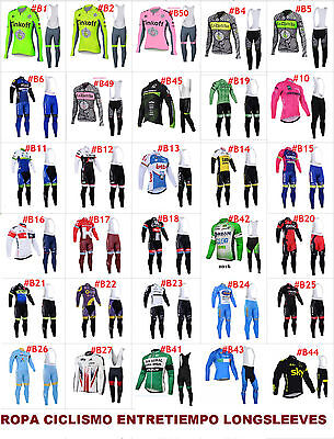 Ropa ciclismo entretiempo larga longsleeves maillot y culote cycling vélo