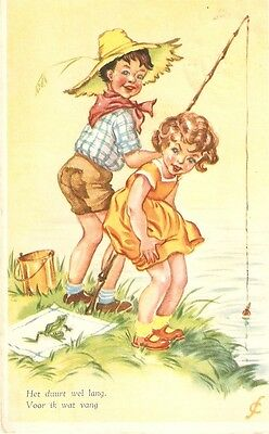 Two nice Belgian greeting postcards with children scenes, 1950s