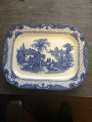 Adams Landscape Meat Plate or Ashet Blue and White Platter 11/9 Inch