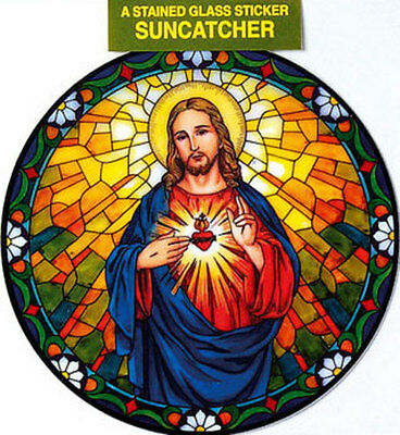 Sacred Heart Stained Glass Sun Catcher Sticker Statues Candles Pictures Listed