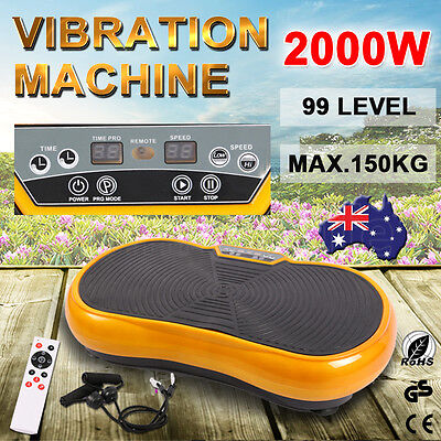 2000W Vibration Platform Plate Trainer Machine Whole Body Fitness Massager Gold