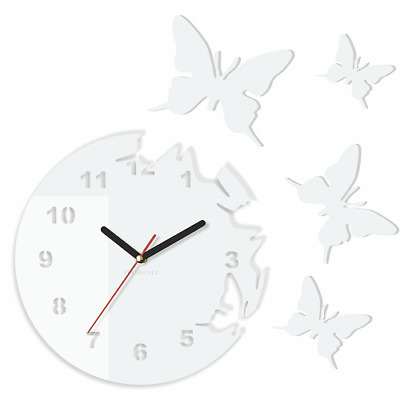 Modern Large Butterflies White Wall Clock Home Decoration Living Room Bedroom