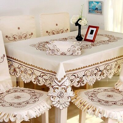 YAZI Beige Embroidered Peony Hollow Tablecloth Party Dining Table Cloth Cover