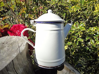 Vintage French enamel small cafetière, white coffee pot with blue rims.