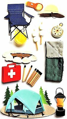 Ek Success Jolee's Boutique Stickers - Holidays Camping Out Tent Fire - Camp
