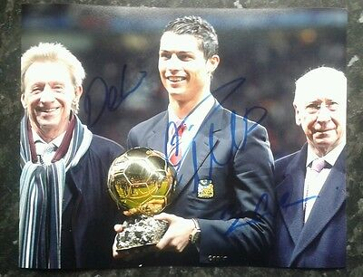 Dennis Law, Cristiano Ronaldo and Bobby Charlton Genuine Hand Signed Autograph