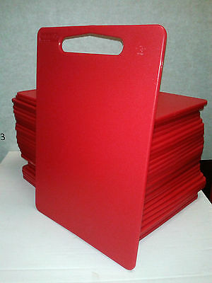 2 x Red Plastic Chopping Cutting Board Catering Restaurant - Food Hygiene Safe