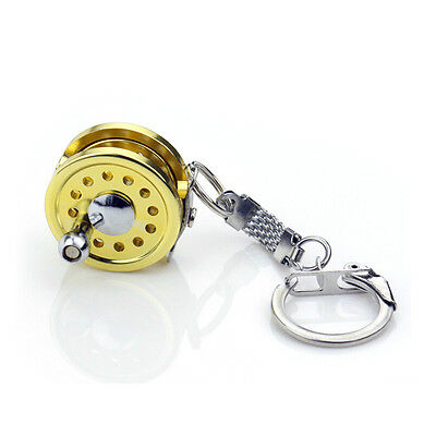 New Cool Fly Fishing Reel Miniature Novelty Gift Charm diameter 25 mm Key Chain