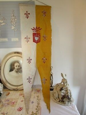 Long antique French religious banner, flag