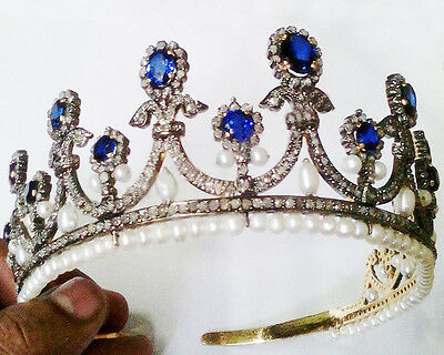 Newly Made Sterling Silver Vintage Repro. 11.77Ctw Rose Cut Diamon Antique Tiara