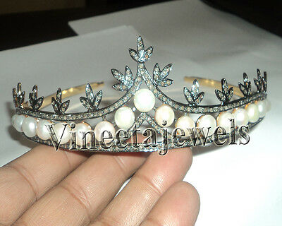 Mughal Style Sterling Silver Antique 8.77Ctw Rose Cut Diamond Pearl Tiara Crown