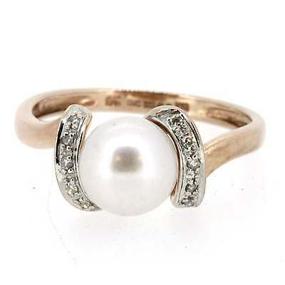 Ladies Hallmarked 9ct Rose Gold Diamond And Pearl Solitaire Ring