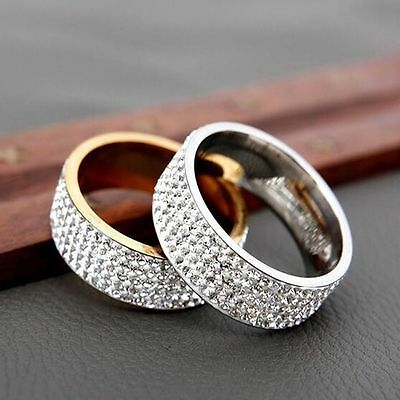 Gold Silver Couple Rings Men/Women's CZ Stainless Steel Wedding Band Ring