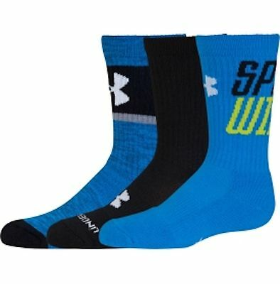 UNDER ARMOUR UA NEXT 3-Pack Kids Graphic Athletic Crew Socks Blue Youth YLG