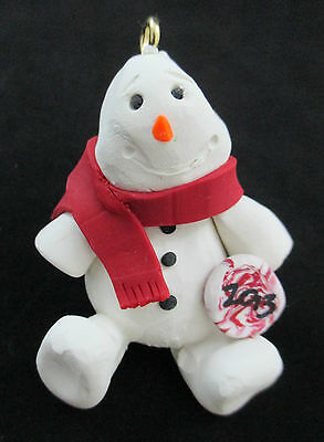 Polymer Clay Snowman Ornament with Red Scarf