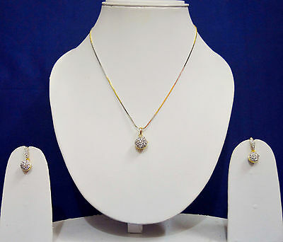 Indian Wedding American Diamond Pendant Necklace Gold Earring Jewelry Sets ADp18