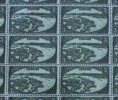 Brunei SG 81/CW 3 1947-51 3ct green complete sheet of 50